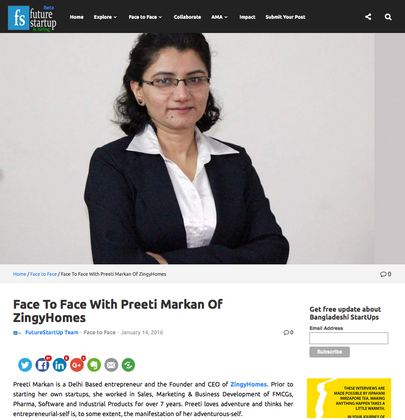 Face To Face With Preeti Markan Of ZingyHomes