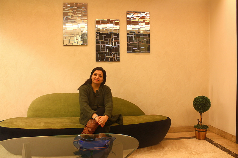Anu in her seating space