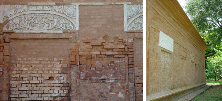 Saltpetre Bricks Were Removed Carefully Without Disturbing The Structure.  Affected Areas Were Treated And Those Which Could Be Reused Were Inserted.