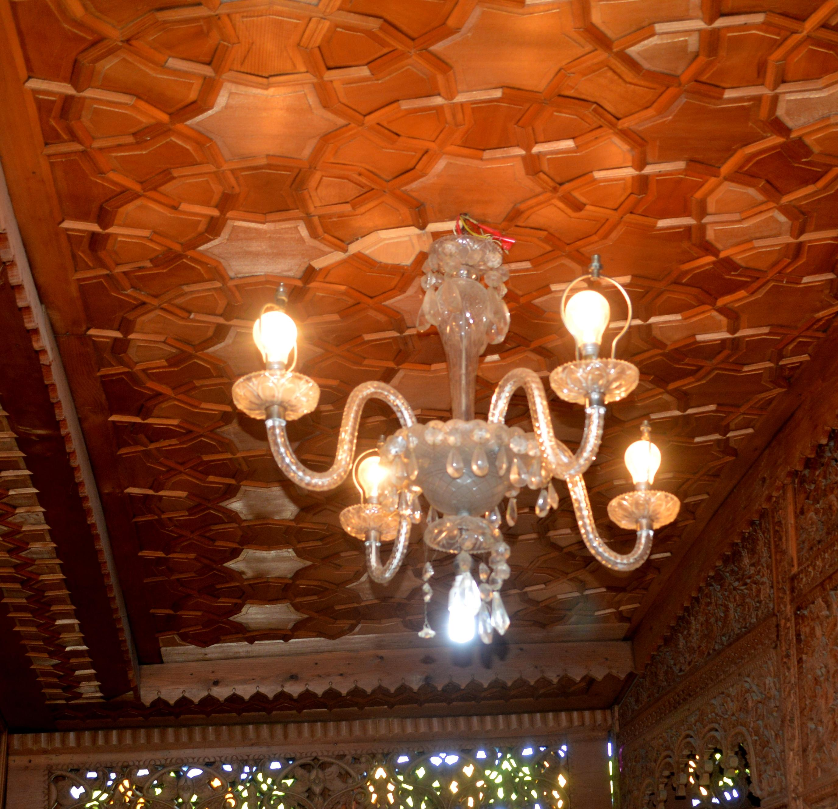 Houseboat Ceiling a Chandelier