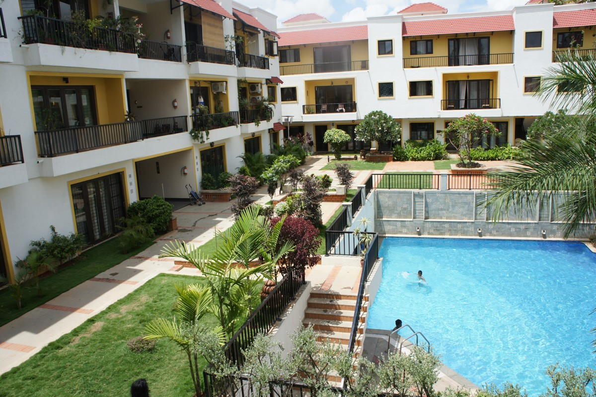 Swimming pool at Waterwoods Apartments, Bangalore