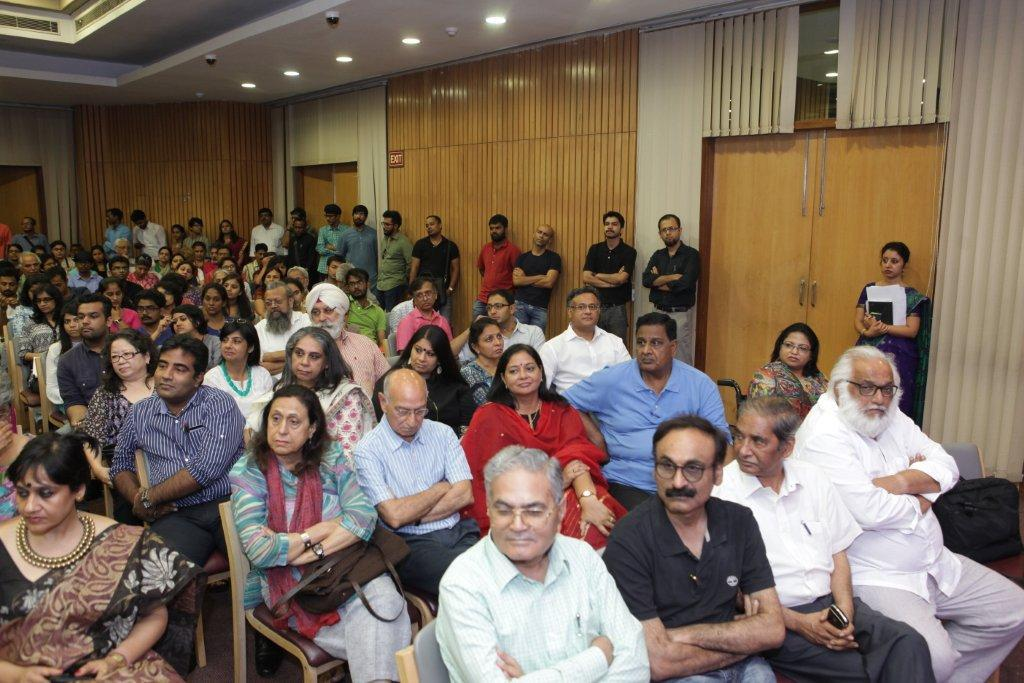 Audience at India International Centre, listening to Rahul Mehrotra