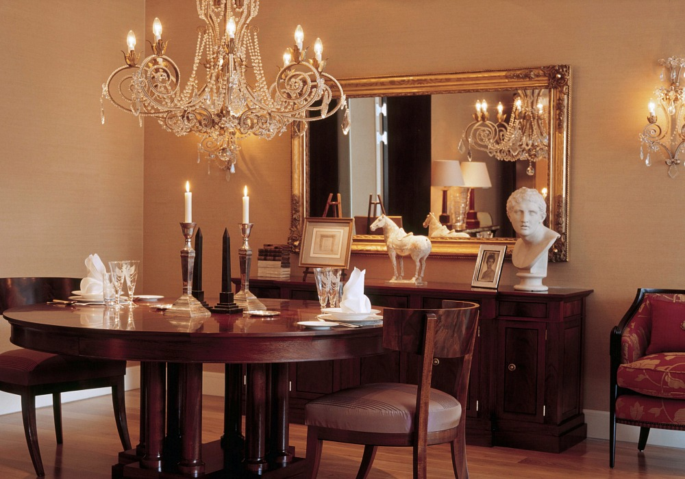 dining room with chandelier