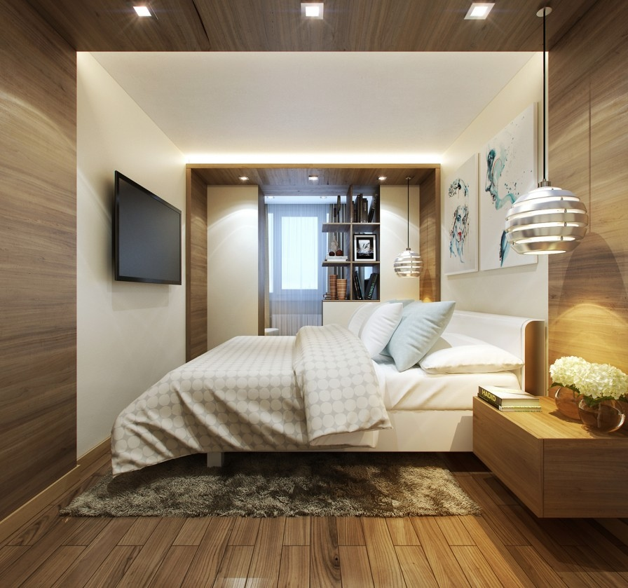 wood paneled bedroom
