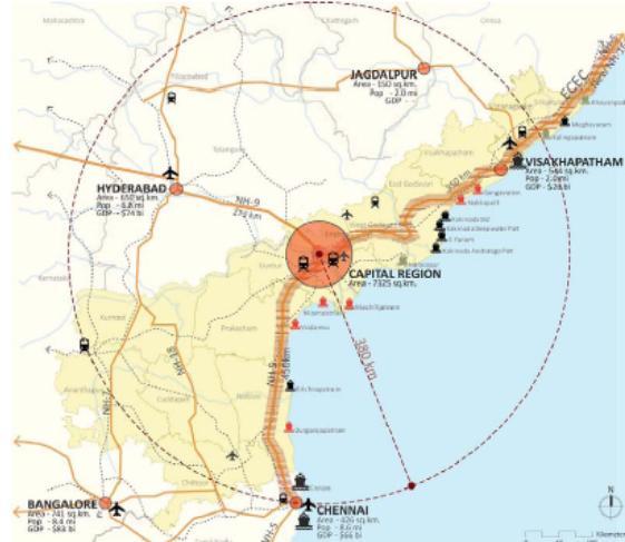 Amaravathi Capital Plan of Andhra Pradesh, AP Capital Master Plan, Map