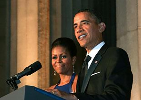 Barack Obama with Lady Michelle Obama