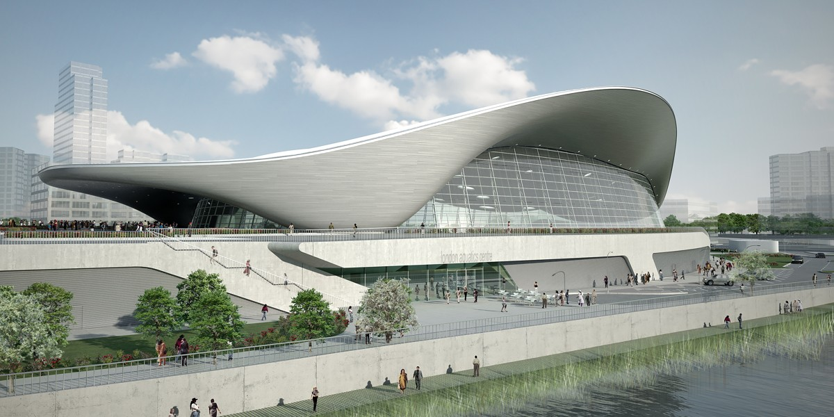 London Aquatic centre designed by Zaha Hadid
