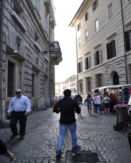 One of the streets leading to Piazza Navona