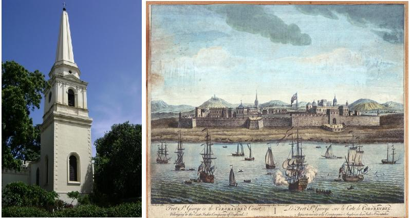 St Mary's church & 18th century portrait of Fort St George