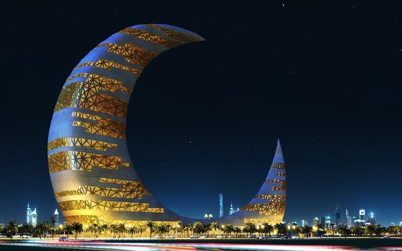 Crescent moon tower dubai skyscraper construction for Moon architecture