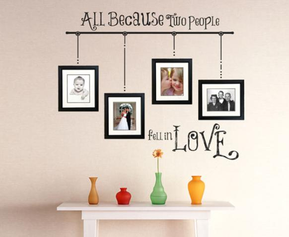 Picture frame wall arrangements with image