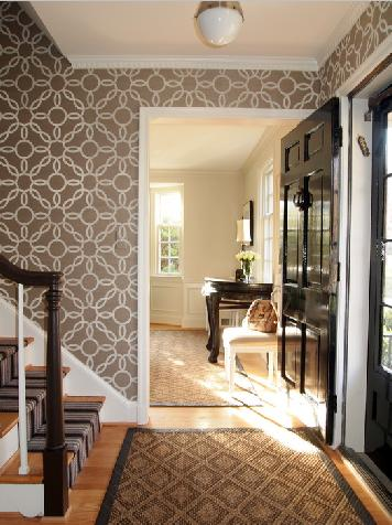 wallpaper designs on the hallway with stairs