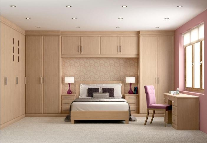 Bedroom Design with Wooden wall mounted wardrobe cabinets