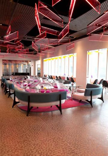 Restaurant Interior Design With Pink Color