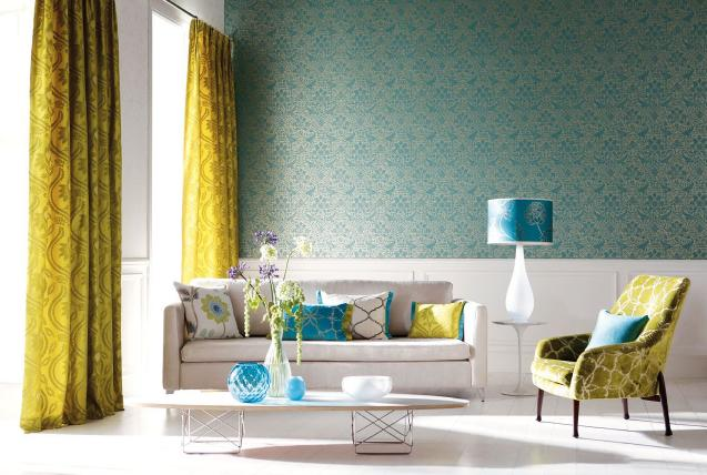 blue wallpaper in elegant living room with yellow curtain floral patterns