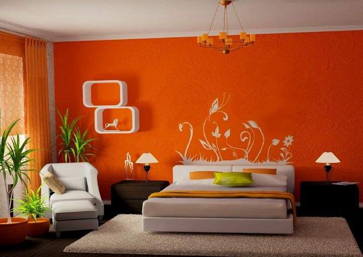 Orange Color Scheme for Living Room, Bedroom, Orange Color Interior ...