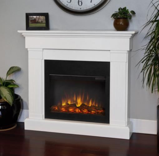 An electric fireplace