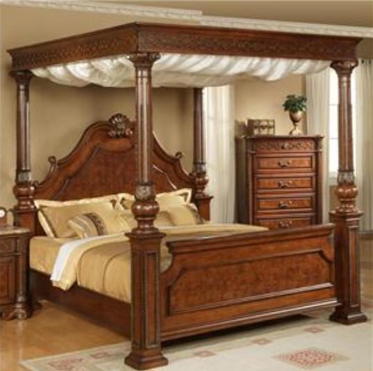 Four poster bed types poster beds designs india for Traditional four poster beds