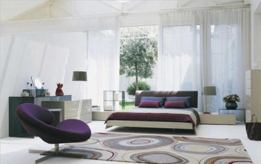 White Purple Bedroom Decorating