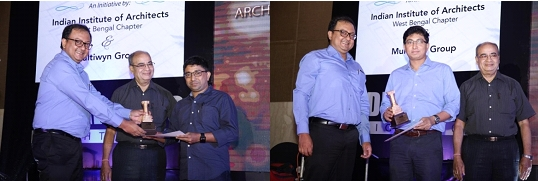 Abin Design Studio and Ar. Ayan Sen receiving the award