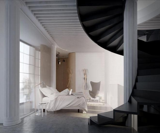 Master Bedroom Stair Home Design Idea