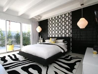Bedroom with Zebra Pattern Rugged