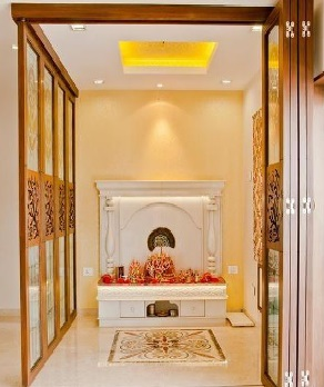 Pooja room glass door designs images pooja room doors in glass for Design of mandir in living room