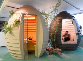 Egg shaped meeting rooms