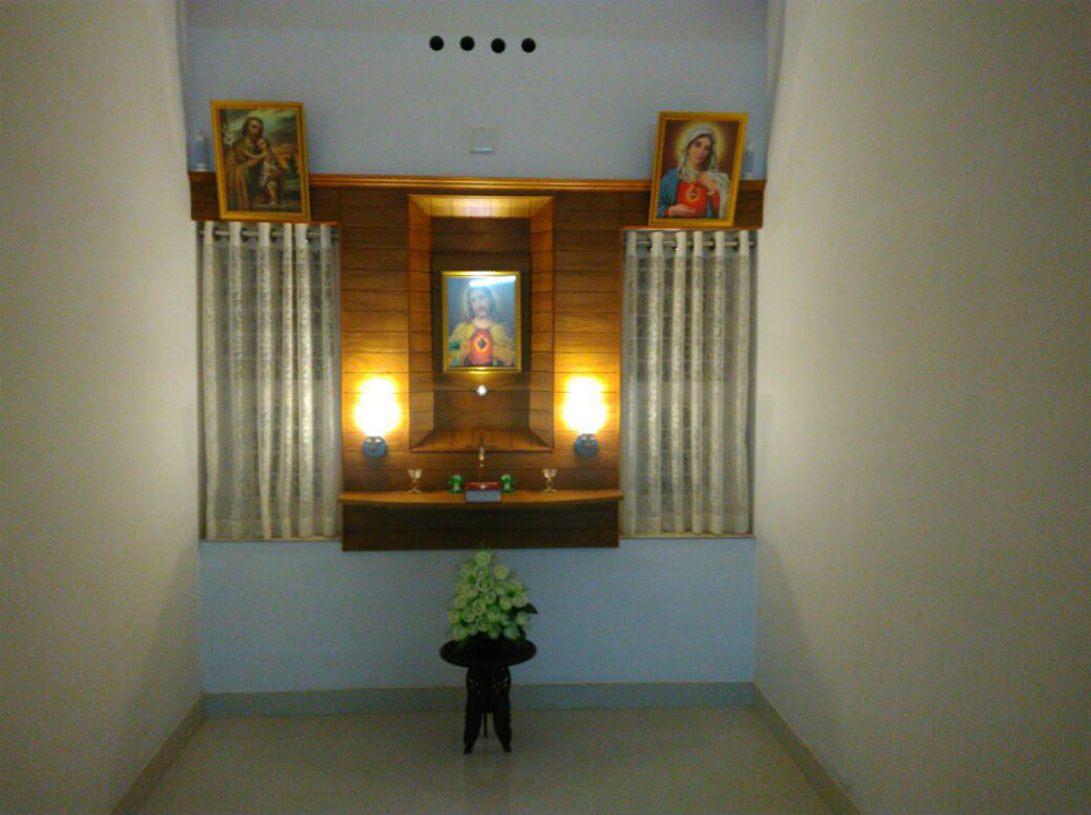 Prayer room design kerala christian homes home design for Apartment design kerala