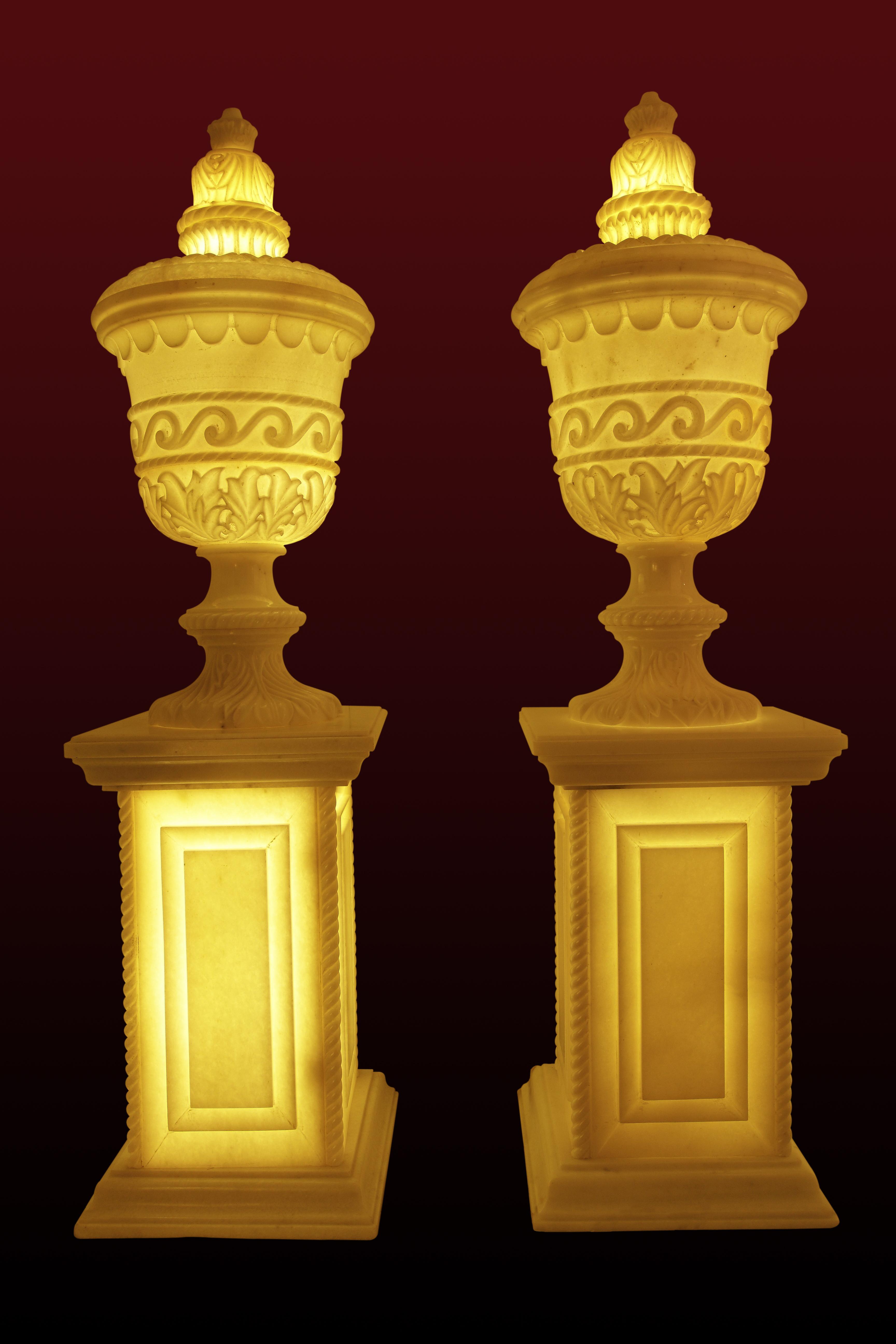 Urn with ornate lid Classic greek geometry