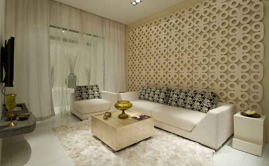 MDF Jali on Living Room Walls