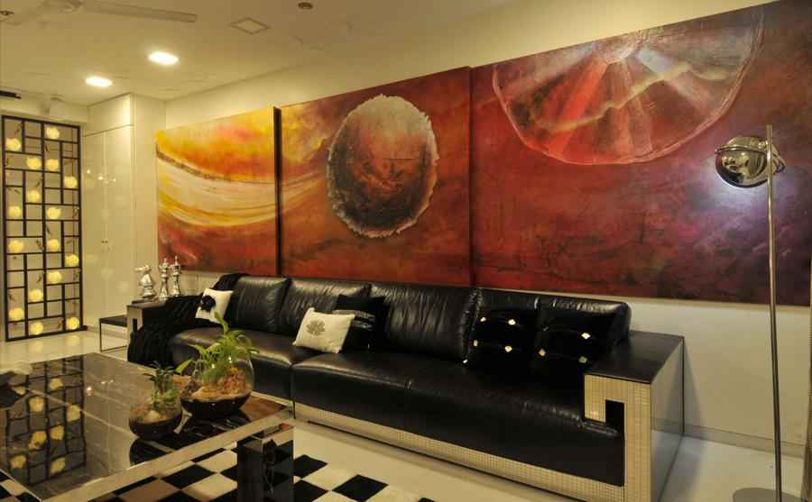 Contemporary Living Room with Modern Painting