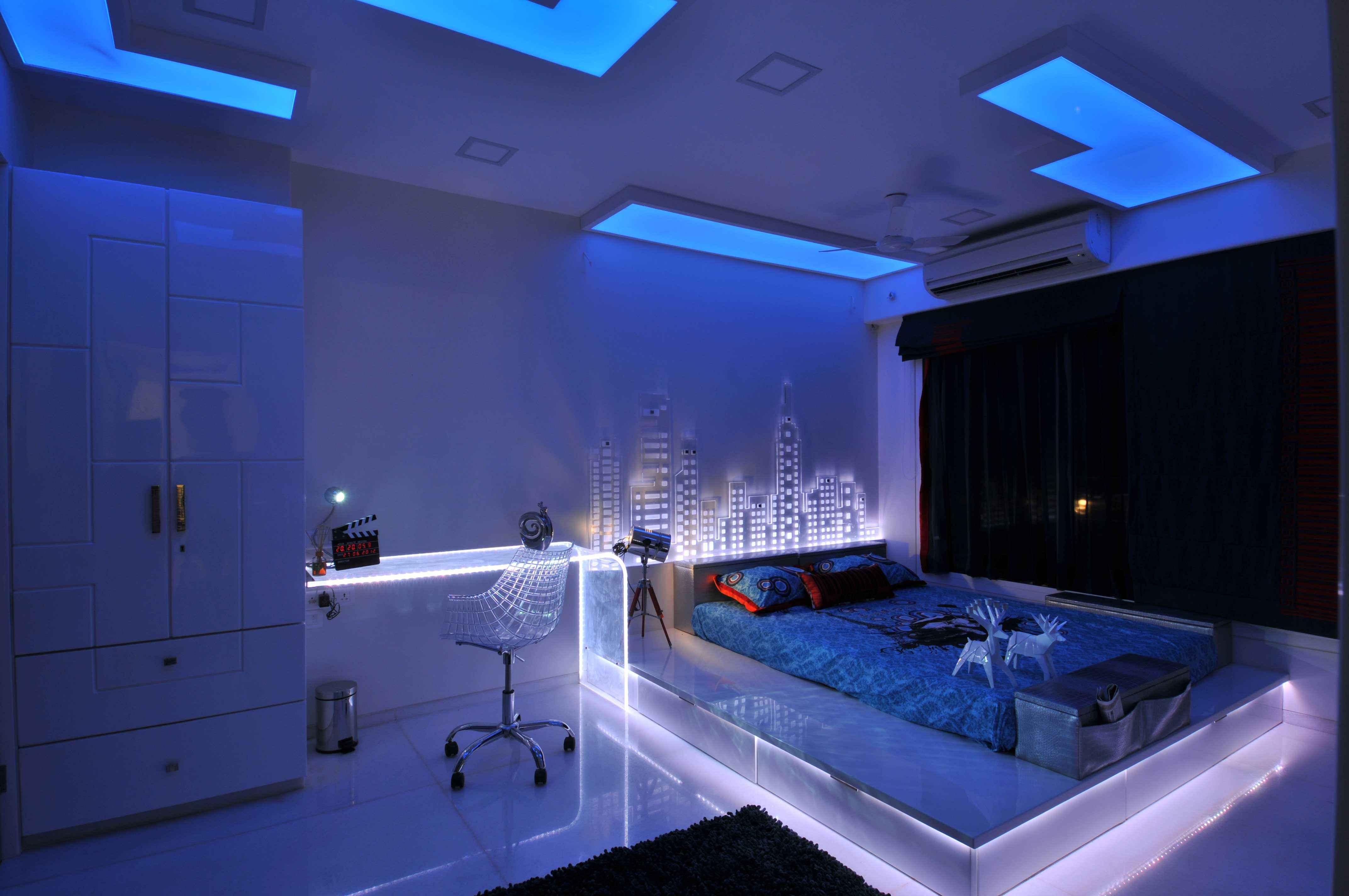 neon blue bedroom bedroom in neon light and blue