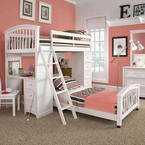 Baby girl bedroom with soft pink nuance and white school house student loft bed and pretty darwer unit.
