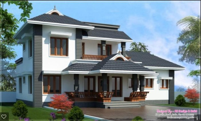 Roof designs kerala style sloped pitched roofs terrace for Terrace roof design india