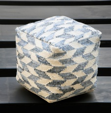 Cooper Recycled Denim, Wool Poufs