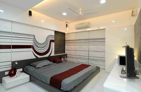 Modern Bedroom in White and Maroon
