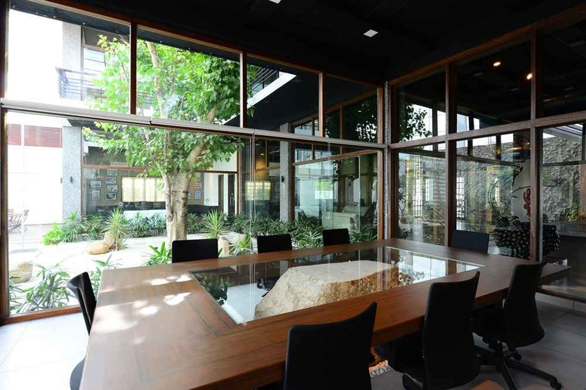 The Conference Room with Glass Windows Around