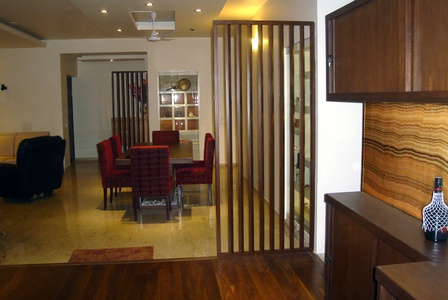 Brown Modern Living Room And Cum Dining In