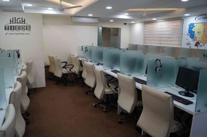 Office Work Station Design Call Center Glass Partition HighTieds Interior Ahmedabad