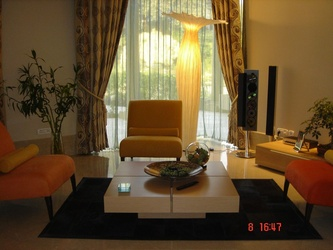 Bright Living Room with Yellow Sofa