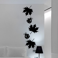 Maple Leaves and Ladybugs Wall Decal ( KC034 )