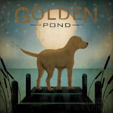 Moonrise Yellow Dog - Golden Pond Poster