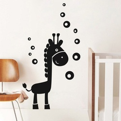 Giraffe And Bubbles Wall Decal ( KC029 )