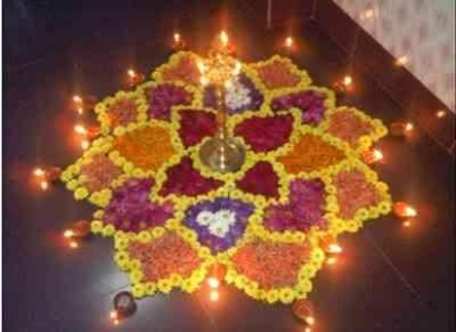 Diwali Flower Rangoli Home Decor Design