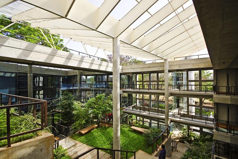 garden linking office blocks