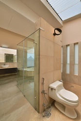 Large Modern Master Bathroom with a Toliet
