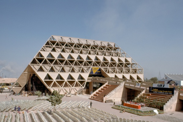 Permanent Exhibition Complex by Raj Rewal, New Delhi ; img src: http://movingcities.org/