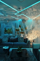 Contemporary Living Room in Blue Light