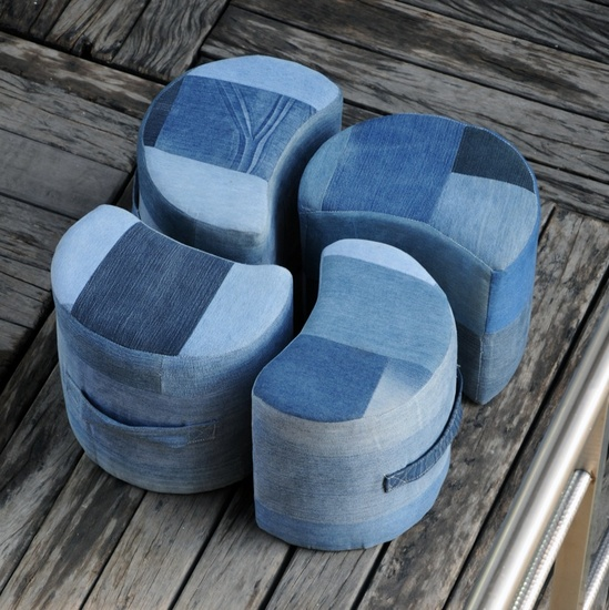 Lunar Luxury Denim Pouf